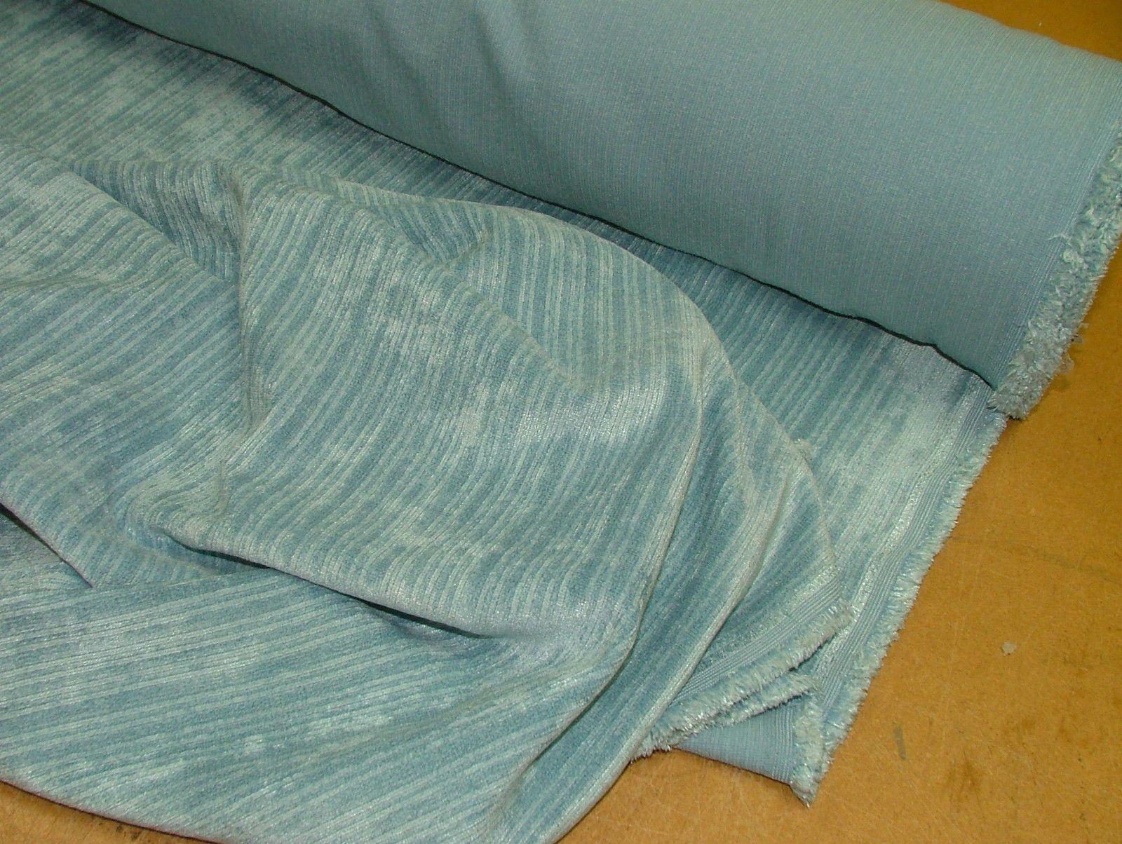 Famous Pale Blue Soft Pile Designer Velvet Curtain Upholstery Fabric CC32